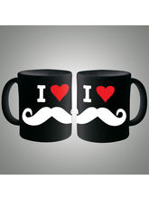 I Love Moustache Mug, multicolor
