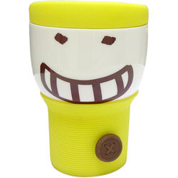 Its Our Studio Button Smiley Mug Yellow Silicon Lid,  yellow