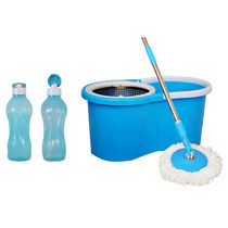 Eco Alpine Bucket Mop & Heavy Rod with 2 Bottle 1000ml Combo, multicolor