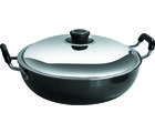 Metallino Hard Anodised Deep Kadai 1.2L, Black