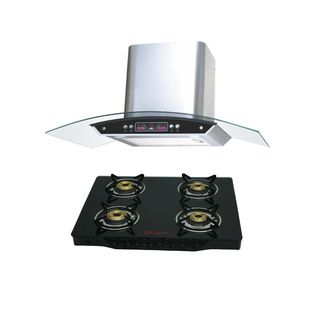 Quba G402A 4 Burner Gas Cooktop (With Electric Chimney 1115)