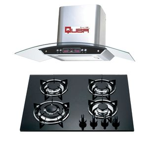 Quba H13 4 Burner Gas Cooktop (With Electric Chimney 1115)
