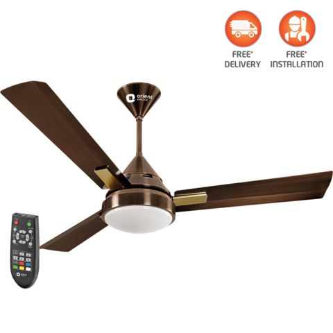 Spectra-multicolored LED underlight fan with remote 1200 mm,  brushed brass