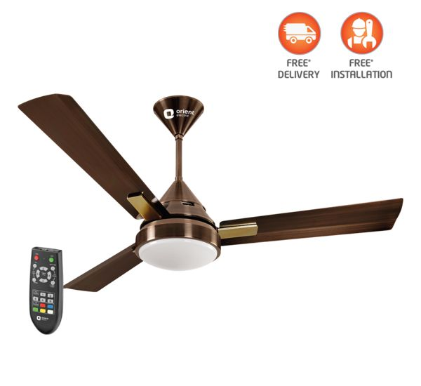 Spectra Multicolored Led Underlight Fan With Remote 1200 Mm Antique Copper