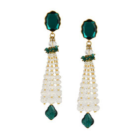 Tarun Tahiliani - Tara Emerald Tassel Earrings