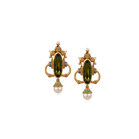Amrapali - Baroque Olive Earrings