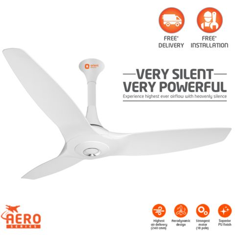 Aeroquiet Premium ceiling fan 1200 mm,  white
