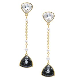 Isharya - Desert Pearl Black Diamond Cocktail Earring