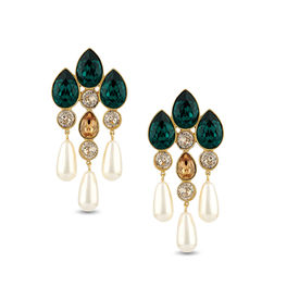 Pernia Qureshi - Eternal Emerald Crystal Pearldrop Earrings