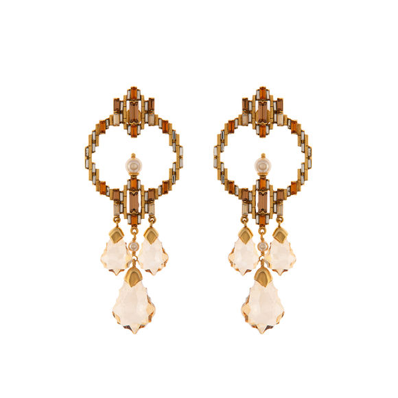 Tarun Tahiliani-Luminescent Statement Deco Earrings