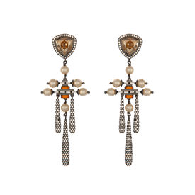 Tarun Tahiliani-Luminescent Stone Top Pave Drop Earrings