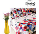 Aapno Rajasthan Set Of Cotton Printed Bedsheet And Plastic Artificial Flowers