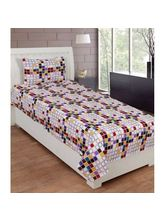 The Divine Cotton Single Bedsheet With 1 Pillow Cover (TDICTN1031SB), multicolor