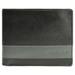 Fastrack Men Leather Black With Grey Strip Wallets (C0381LBK01)