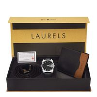 Laurels Men's Combo Pack Of Watch, Wallet & Belt (Cp-Inc-202-Tsk-0206-Vt-0209), free size