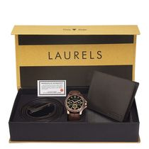 Laurels Men's Combo Pack Of Watch, Wallet & Belt (Cp-Cp-101-Urb-09-Vt-0209), free size