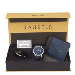 Laurels Men s Combo Pack Of Watch, Wallet & Belt (Cp-Inc-603-Blk-0302-Vt-0209), free size