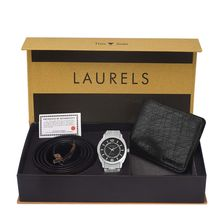 Laurels Men's Combo Pack Of Watch, Wallet & Belt (Cp-Polo-802-Hrnt-02-Vt-0209), free size