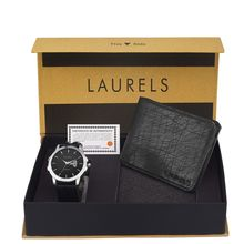 Laurels Men's Combo Pack Of Watch & Wallet (Cp-Inc-602-Hrnt-02), free size