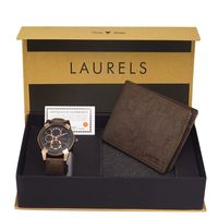 Laurels Men's Combo Pack Of Watch & Wallet (Cp-Cp-020505-Crs-09), free size