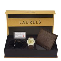 Laurels Men's Combo Pack Of Watch, Wallet & Belt (Cp-Asp-101-Crs-09-Vt-0209), free size