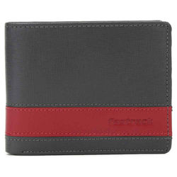 Fastrack Men Leather Grey With Red Strip Wallets (C0381LGY01)