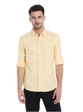 Solid Cut Away Slim Fit Shirt, s,  yellow