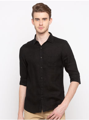 Spykar Regular Collar Solids Slim Fit Shirts, m,  black