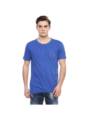 Solid Stand Collar Neck T-Shirt,  royal blue, s