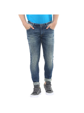 Low Rise Tight Fit Jeans,  mid blue, 36