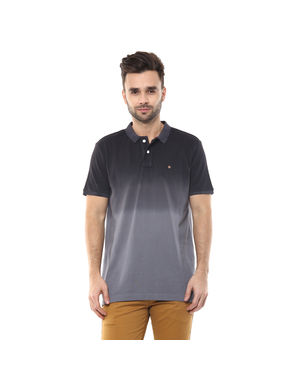 Printed Polo T-Shirt, s,  black grey