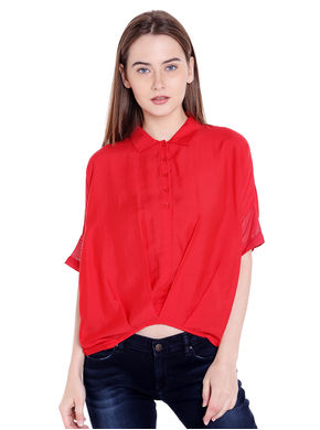 Solid Collar Top,  red, xl