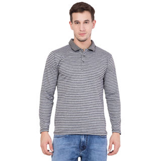 American-Elm Men's Grey Full Sleeves Striped T-Shirt, m