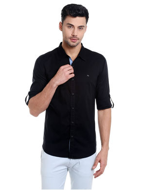 Solid Cutaway Slim Fit Shirt, xl,  black