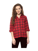 American-Elm Women'S Red Checkered 3/4Th Sleeves Shirt, xl