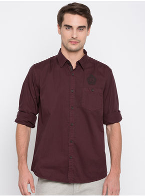 Spykar Solids Slim Fit Shirts,  wine, l