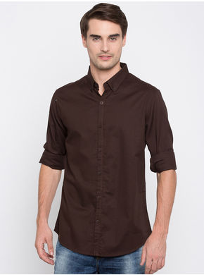 Spykar Solid Slim Fit Shirts,  coffee, m