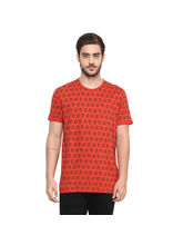 Printed Round Neck T-Shirt, m, coral
