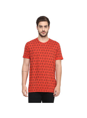 Printed Round Neck T-Shirt, s,  coral