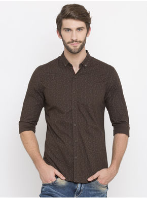 Spykar Printed Slim Fit Shirts, xl,  brown