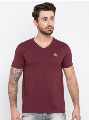 Spykar Solid Round Neck Slim Fit T-Shirts, l,  maroon