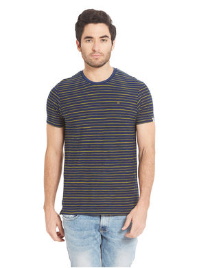 Striped Round Neck T-Shirt, s,  navy/yellow