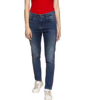 Spykar High Rise Super Skinny Ankle Length Jeans,  mid blue, 32
