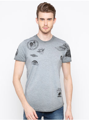 Spykar Round Neck Slim Fit T-Shirts, m,  grey