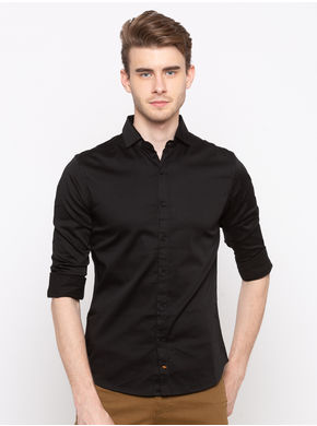 Spykar Regular Collar Slim Fit Shirts,  black, m
