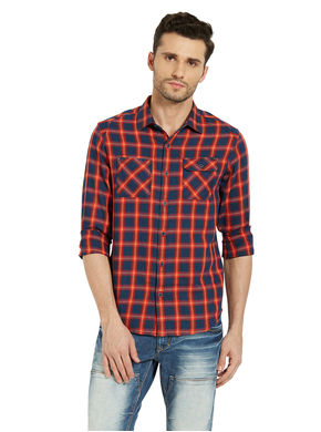 Checks Shirt In Slim Fit, s,  orange
