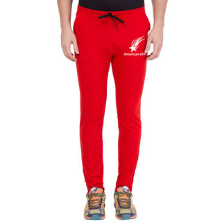 American-Elm Red-White Star Printed Slim Fit Trackpant For Men, l