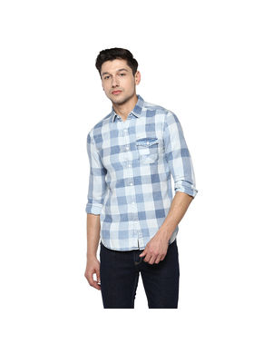 Checks Cut Away Shirt,  light blue, l