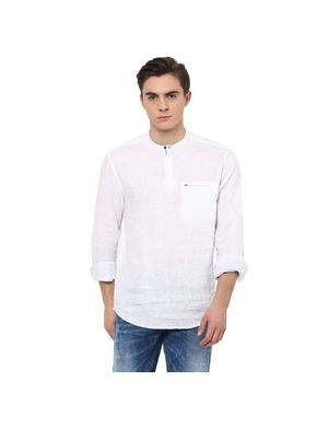 Solid Mandarin Collar Shirt, s,  white