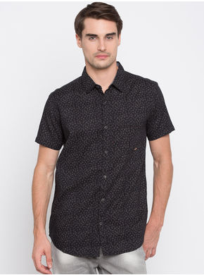 Spykar Prints Slim Fit Shirts, m,  black
